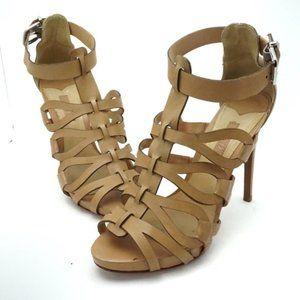 Schutz Tan Strappy Heeled Sandals Size 9